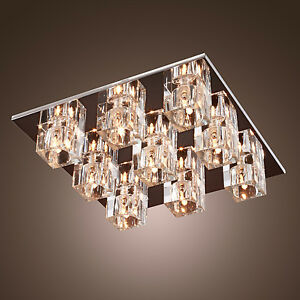 Square Flush Mount 9 Light Crystal Multiple Cubes