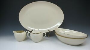 Lot-of-5-Lenox-China-OLYMPIA-Serving-Pieces-Platter-Veg-Bowls-EXCELLENT