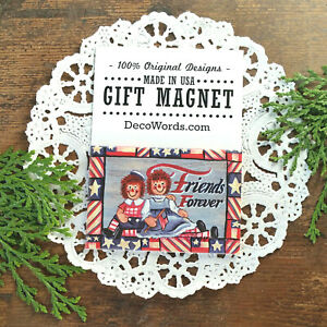 Friends-Forever-Cute-Friend-Gift-Magnet-USA-DecoWords-Old-Rag-Dolls