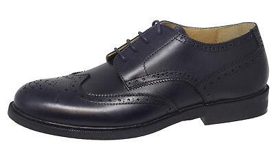 Gallucci 2051AM Leder Jungen Schuhe Budapester Schnürer blau