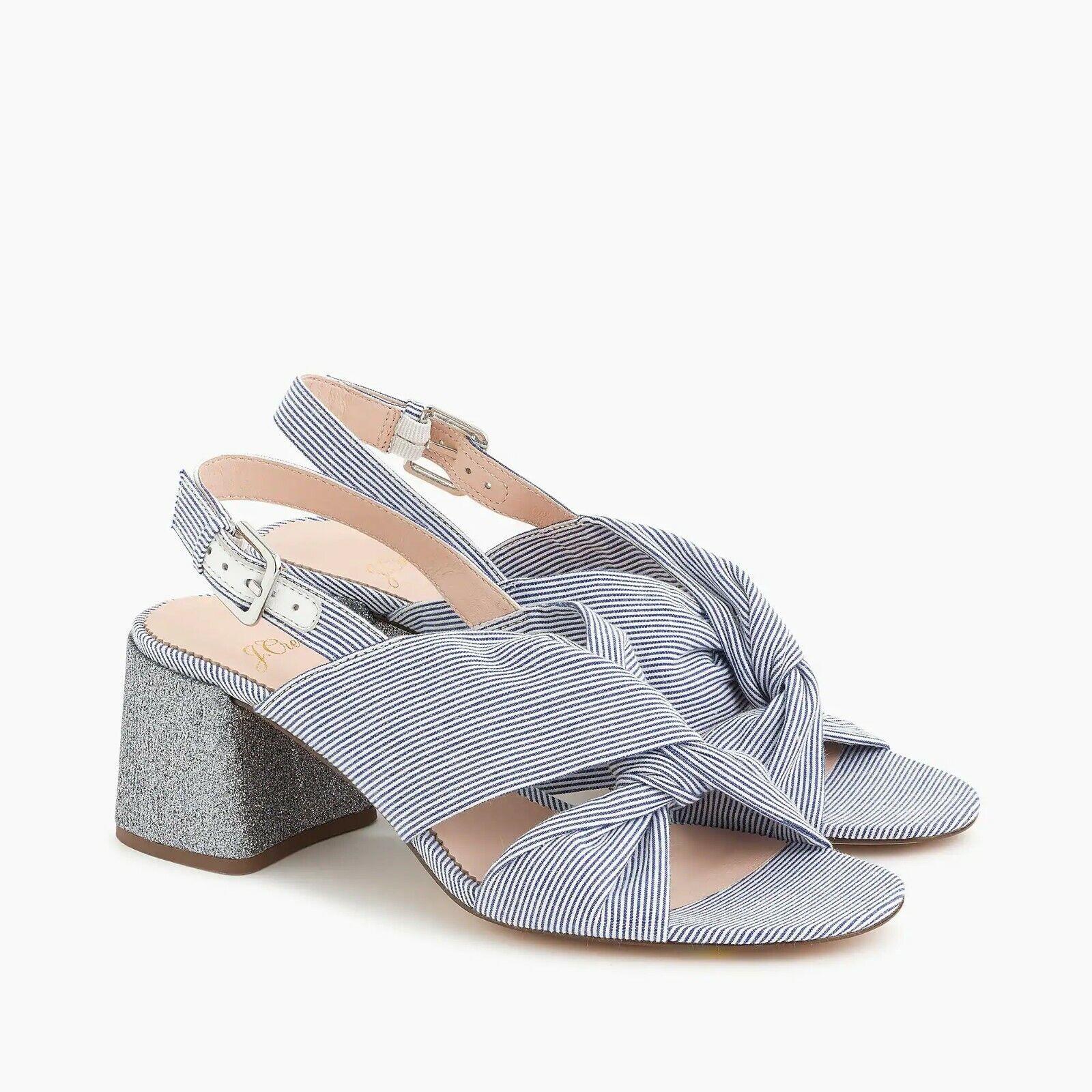 J.  Crew Wouomo Twisted -Knot Penny Sandals in Stripe w   Glitter Heel - Dimensione 9  risparmia il 50% -75% di sconto