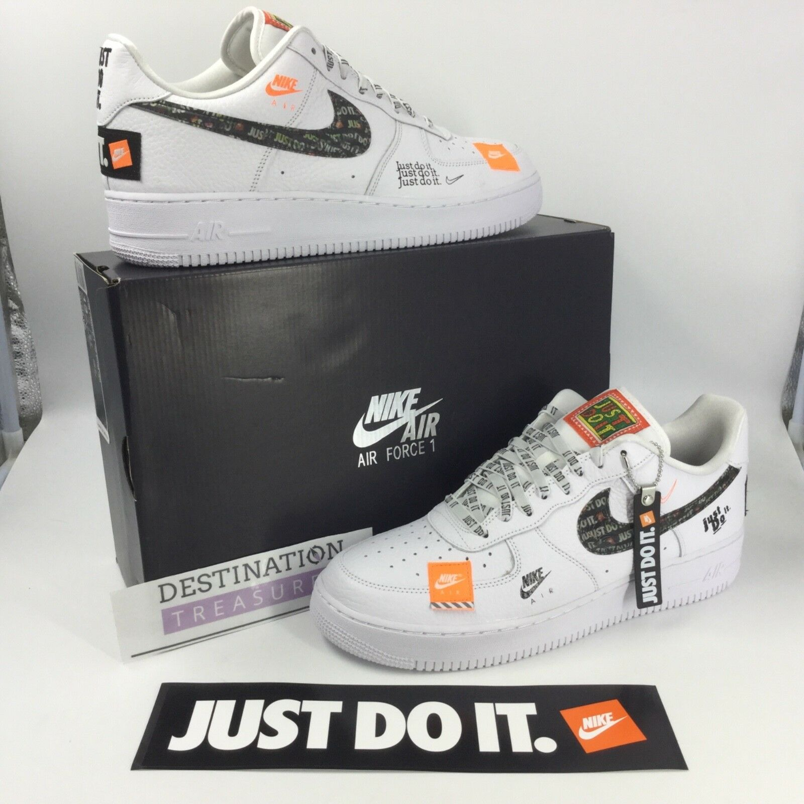 Nike Air Force 1 AF1 Sneakers JUST DO IT White Blk Orange Men 13 Keychain JDI Casual wild