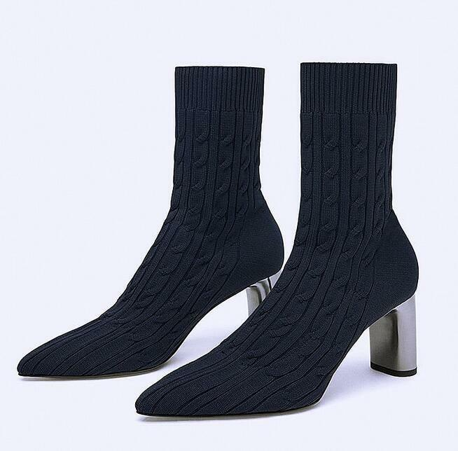 Womens Pull on Pointed Toe Ankle Boots High Heels Casual shoes Slim Fit Knitted