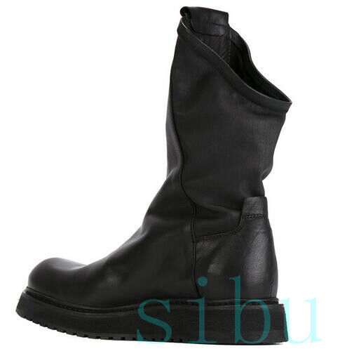Stylish Men Genuine Leather Pull On British High Top Casual Military Ankle Boot