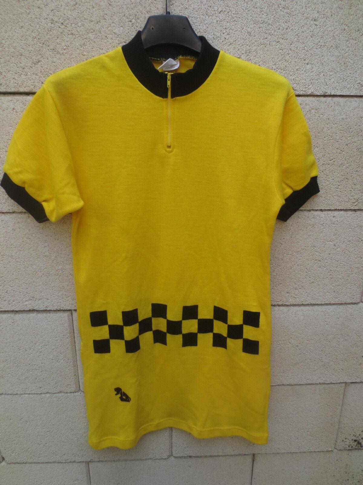 Maillot cycliste PEUGEOT damier jaune 70's trikot shirt shirt trikot jersey camiseta rare M 3 46ee18