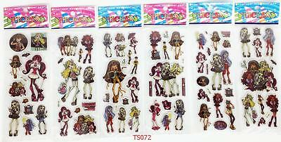 6pc/lot classic cartoon Monster High Stereoscopic PVC Puffy Stickers Kids Gift