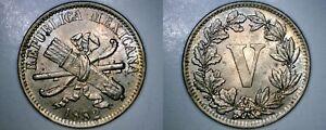 1882 Mexican 5 Centavo World Coin - Mexico