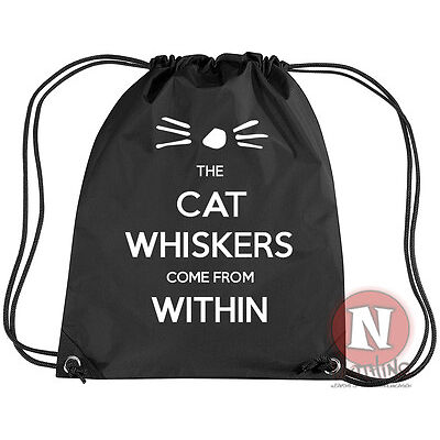 Dan and Phil the cat whiskers come from within kit bag. Drawstring PE school