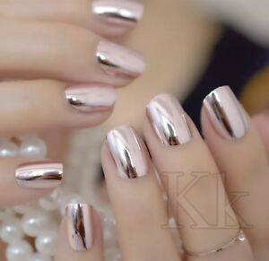 Details about Mirror effect shinny False Nails STILETTO Point Metallic  Acrylic Nail Tips uk