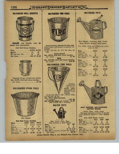 1929 PAPER AD Galvanized Fire Pail Bucket Conical Round Bottom Well Water