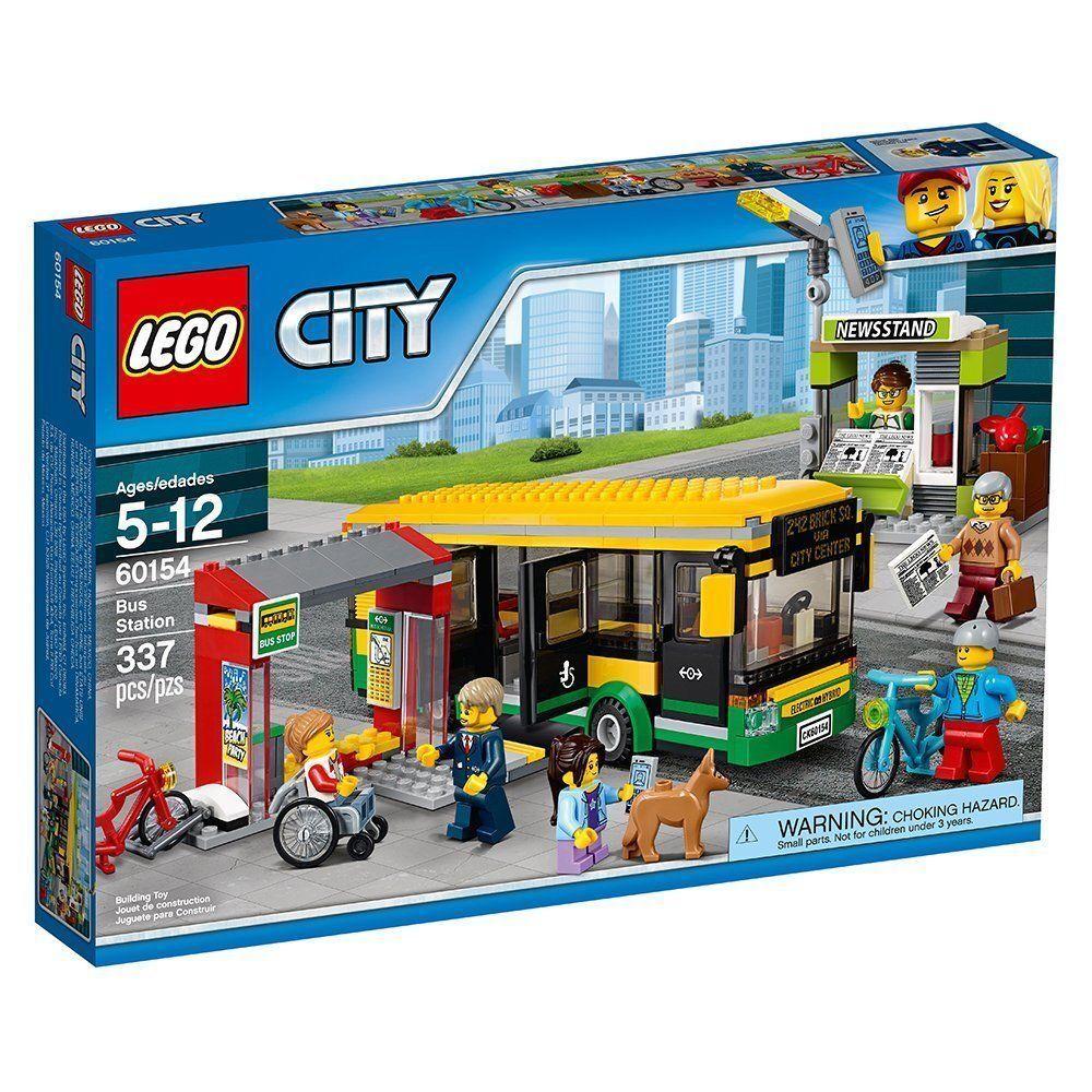 60154 station de bus LEGO  LOT legos City Ville Nouveau Kit scellé train Transit Depot  nouvelle marque