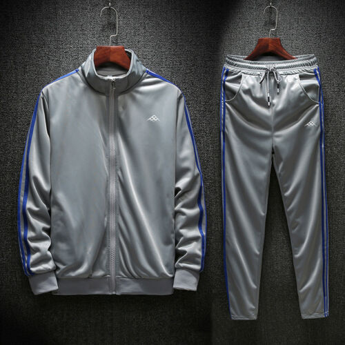 Men Full TrackSuit Jacket Top Bottom Sport Suit Sets Pants Trouses Strips 2 PC
