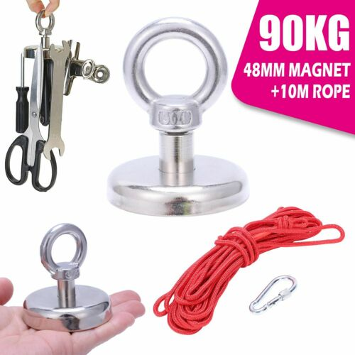 10M Rope 90KG Strong Pull Recovery Magnet Fishing Salvage Treasure Hunting Ni