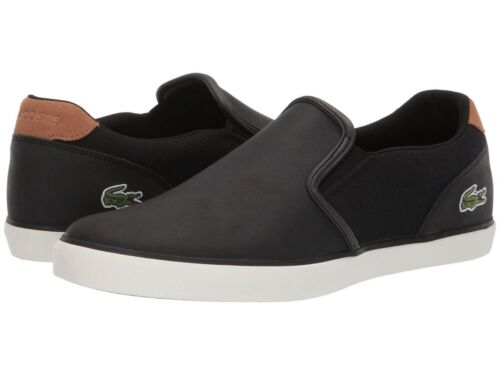 2dc27164b Lacoste Men Shoes Jouer Slip 119 Black Brown Leather Casual Sneakers Shoes  NEW