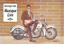 Ad P'card-Live Music-Heritage Cafe,Paris 1995(Guitar Player on Harley Davidson)