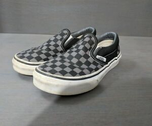5ba93e2f4cd323 KIDS VANS OFF THE WALL  Slip On  Canvas Shoes Black Pewter Checkered ...