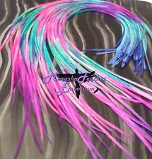 """Feather hair extensions Tie Dye GORGEOUS Solids 12 - 15"""" Limited Stock DIY Kit"""
