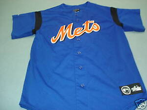 buy popular 384f6 8f637 Details about Majestic Sewn NEW YORK METS Baseball Jersey Adult MED