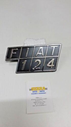 SCRITTA FIAT 124   LOGO EMBLEMA STEMMA  FIAT BADGE COFANO POSTERIORE  PLASTICA