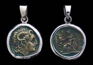 Alxander-Der-Grosse-amp-Athena-Antike-Muenze-Anhaenger-Silber-Gothic-Schmuck-NEU
