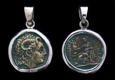 100% Wahr Alxander Der Große & Athena Antike Münze Anhänger Silber Gothic Schmuck - Neu Reine WeißE