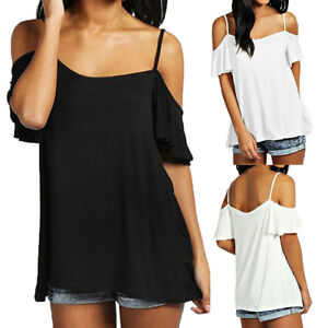 d49affc814ba26 Women's Off Shoulder Loose Sleeve Spaghetti Strap Halter Tops Blouse ...