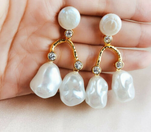 Natural white baroque pearl bifurcated golden ear hook gorgeous elegant