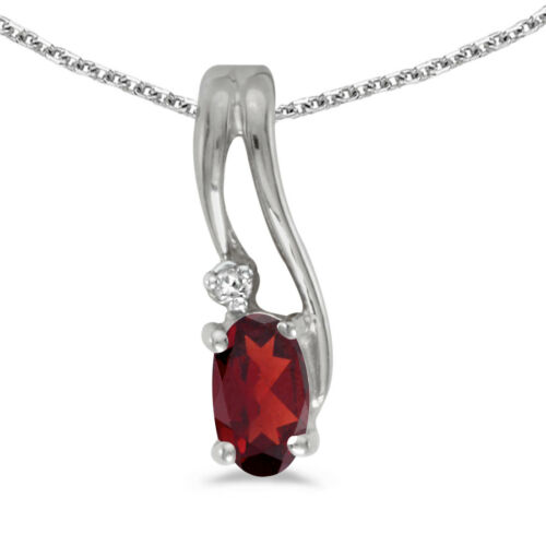 """Details about  /10k White Gold Oval Garnet And Diamond Wave Pendant with 16/"""" Chain"""