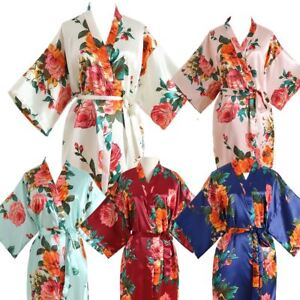 2019 Silk Bride Robe Kimono Floral Bridesmaid Dress Flower Girl Robe Bathrobe