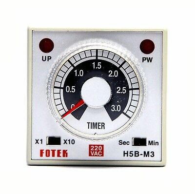 1pc DIN 48 Industrial Timer H5B-M3-220V 3S / 30S / 3M / 30M
