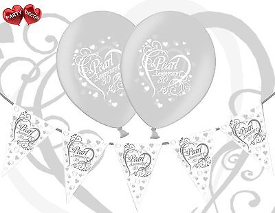 Bundle 40th Ruby Red Anniversary Balloons Pack of 5 Themed Bunting Banner 12ft