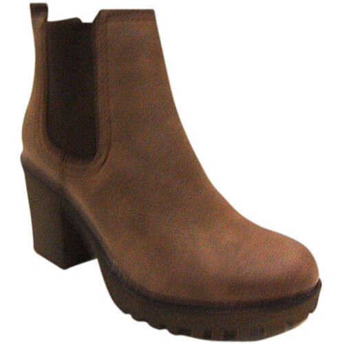 NEW WOMENS LADIES ANKLE CHELSEA BOOT LOW MID BLOCK HEEL CLEATED SOLE GUSSET SIZE