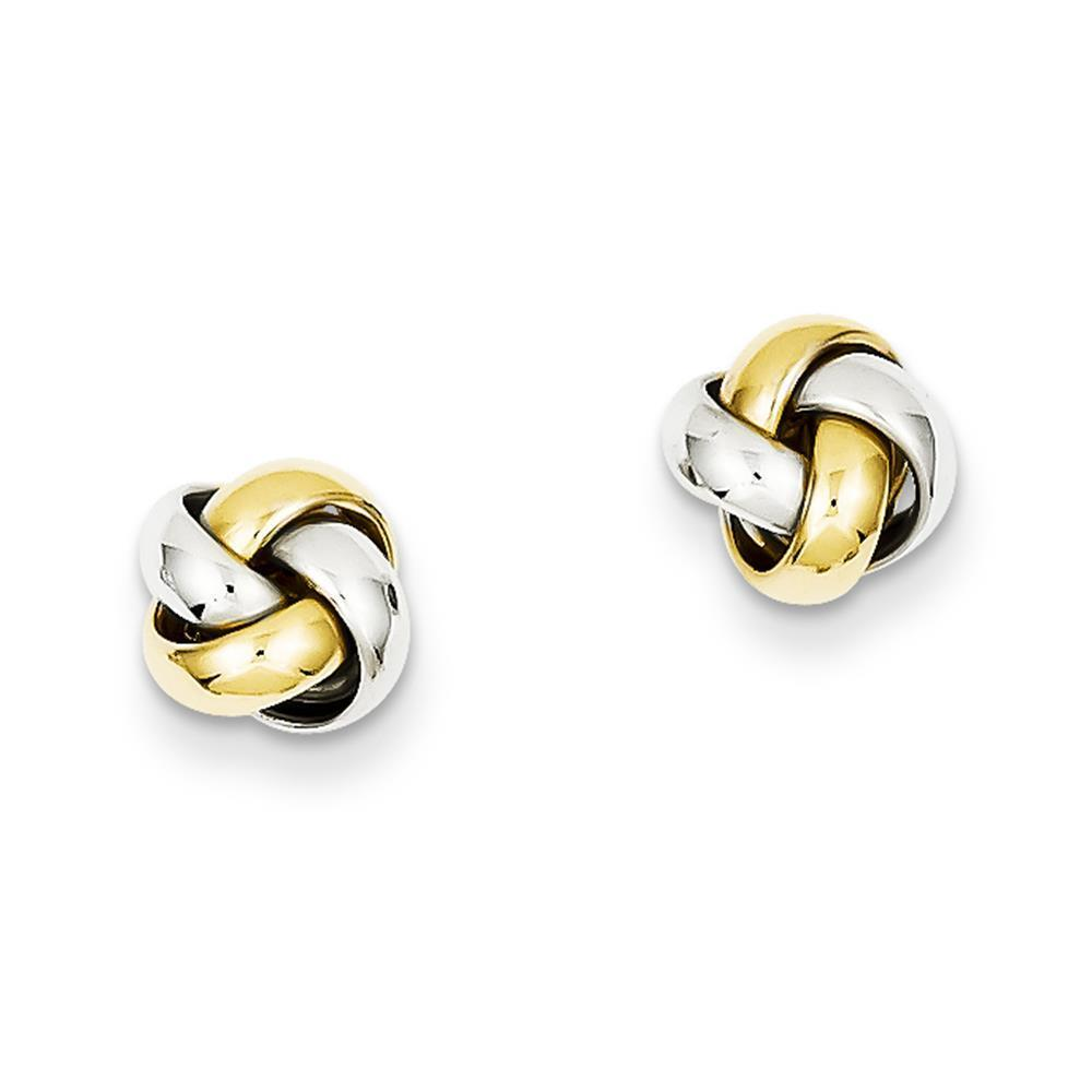 NEW 14k Ladies Two Tone gold Polished Knot Post Stud Earrings 8mm x 8mm