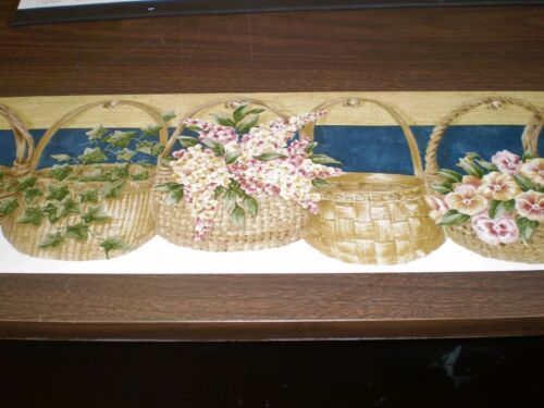 Country Multi-Color Flowers /& Baskets on Navy /& Off-White by Brewster B00200