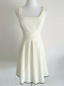Cue-Cream-Lace-Sleeveless-Fit-amp-Flare-Cocktail-Dress-Size-6
