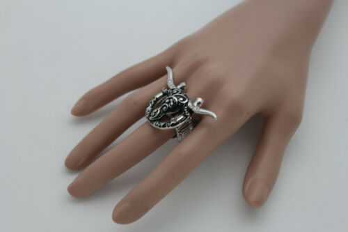 Details about  /Women Silver Metal Ring Fashion Jewelry Elastic Band Texas Long Horn Bull Cow TX