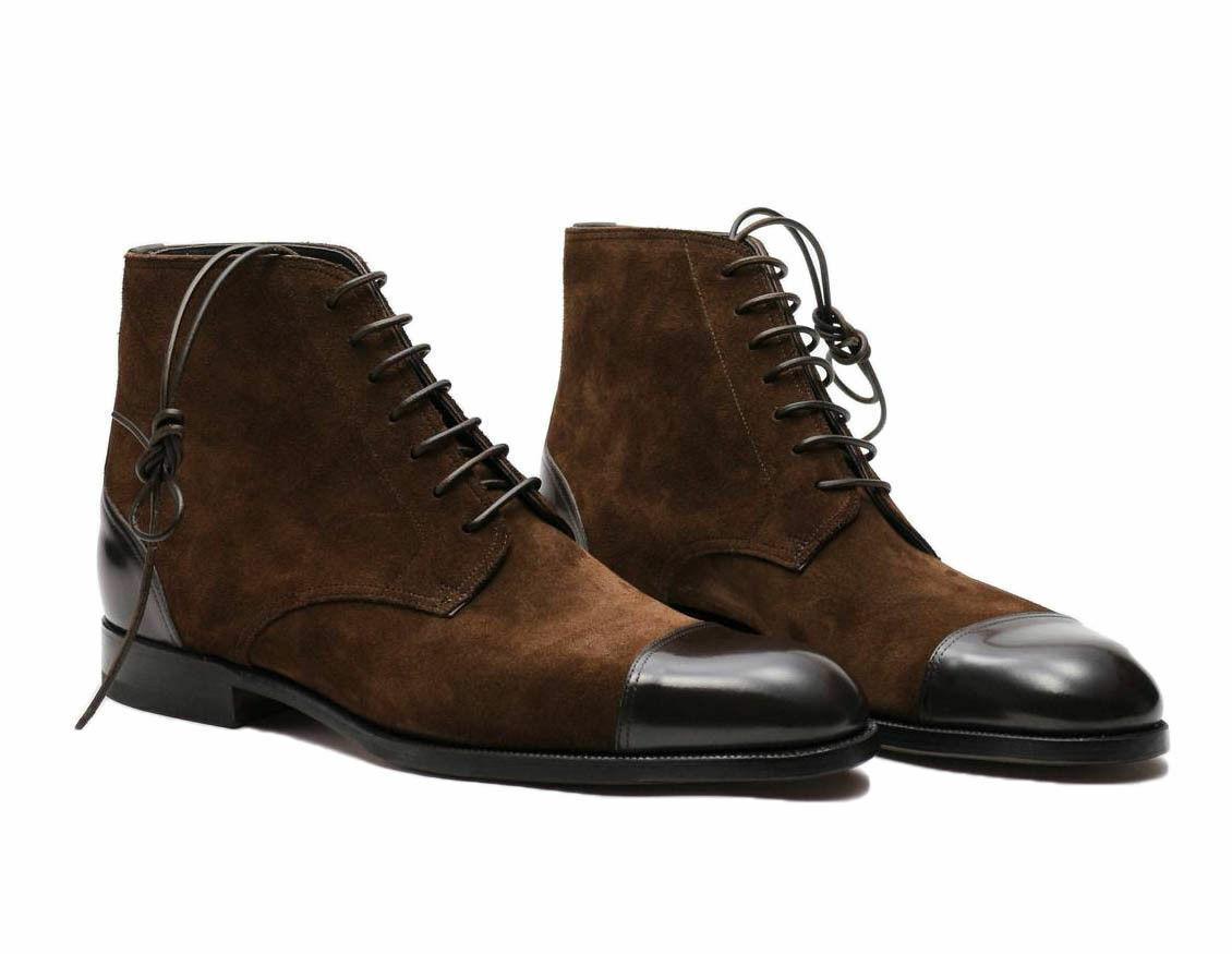 Mens Handmade stivali Marroneee Ankle High Cap Toe Toe Toe Leather Suede Formal Wear scarpe New 43c401