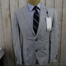 New Bar Iii Slim Fit Gray Plaid Linen Sport Coat Blazer Ag1