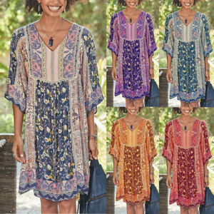 Women-Plus-Size-Boho-Floral-Print-Mini-Dress-Baggy-Loose-Summer-Casual-Sundress