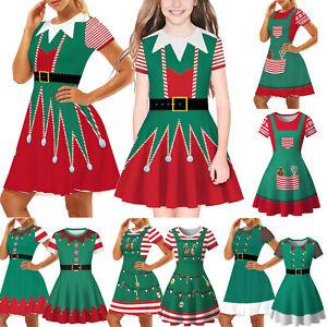 Kids Girls Christmas Party Xmas Hleper Elf Swing Dress Cosplay Fancy Dress Xmas