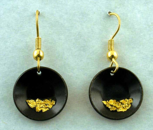 miner ore prospector Pan Earrings Flakes of Pure Gold