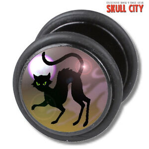 BLACK-CAT-FAKEPLUG-Fake-Piercing-Picture-Plug-Ohrstecker-Tattoo-Kitty-50-s