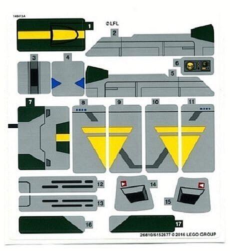 Lego Star Wars Vaders Tie Advanced Vs A-Wing Starfighter Foglio di Adesivi