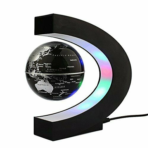 Newooe Floating Globe with LED Lights C Shape Magnetic Levitation Floating Globe