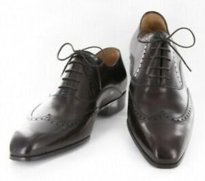 Neuf Sutor Mantellassi Marron Foncé Chaussures - Lacet Bout D'Aile - 7/6