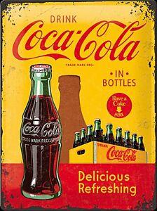 Coca-Cola-in-Flaschen-Kiste-Grosse-Gepraegtes-Metall-Zeichen-400mm-x-300mm-Na