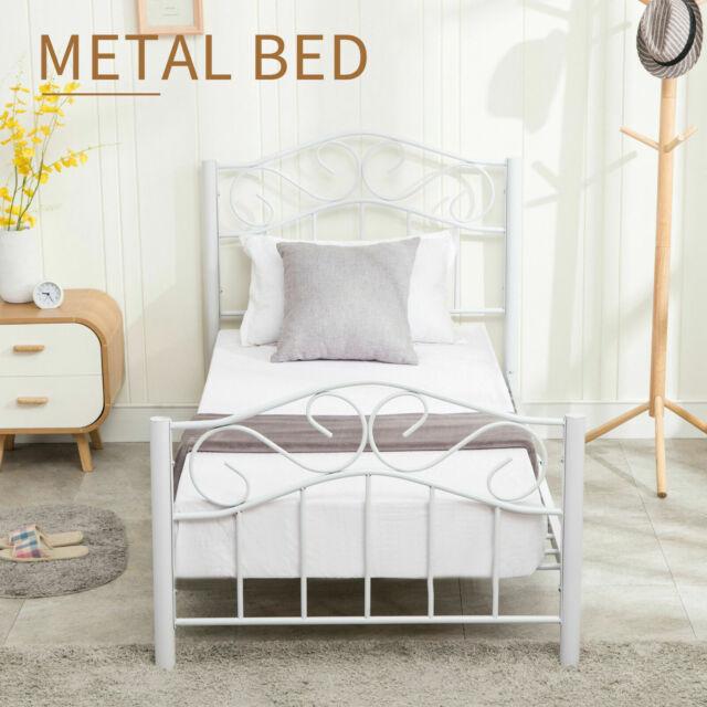 Twin Size Metal Bed Frame Platform Headboard Footboard Bedroom Heavy Duty White For Sale Online