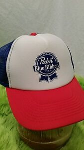 Pabst Blue Ribbon Trucker Hat Baseball Cap PBR Beer Hat Mesh ... 672d7273b3f
