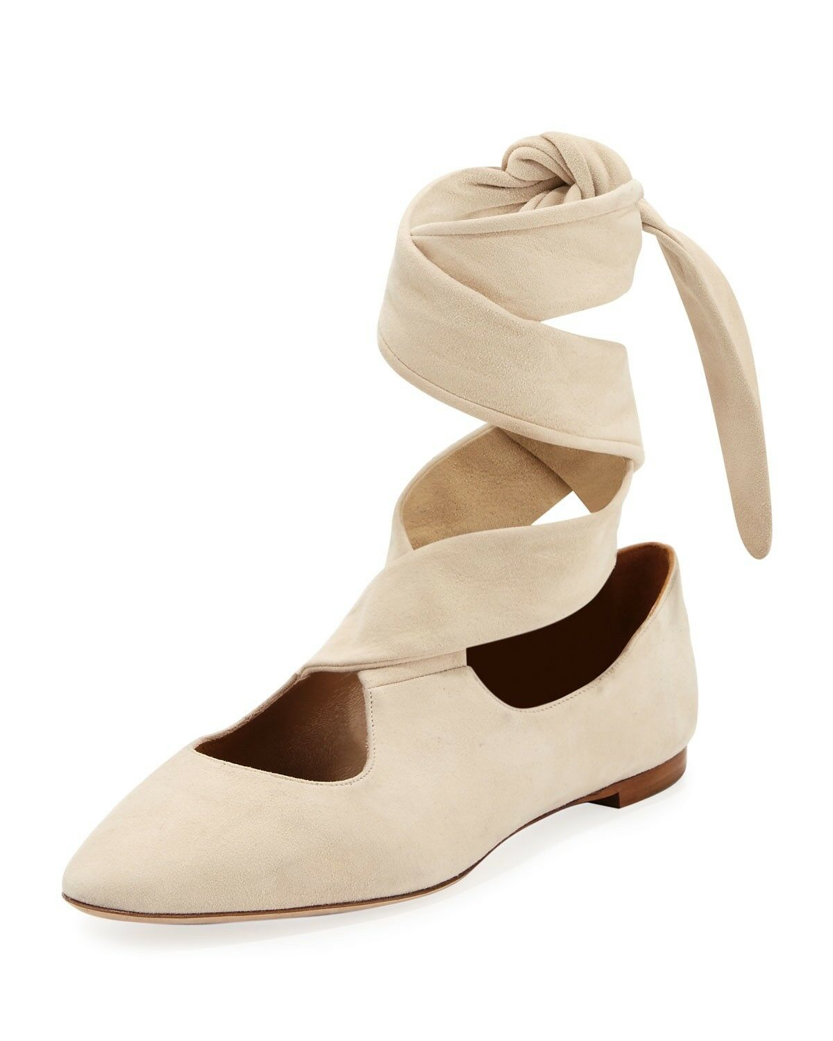 THE ROW Elodie Ballet Flats Beige Suede Size 39.5