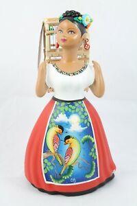 Lupita NAJACO Ceramic Figurine//Doll NURSE Mexican Folk Art Collectible Wht//Green